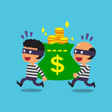Cartoon thieves stealing big money bag Royalty Free Stock Photos