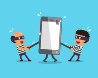Cartoon thieves stealing big smartphone Royalty Free Stock Images