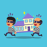 Cartoon thieves stealing a house Royalty Free Stock Images