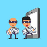 Cartoon thieves stealing mails from smartphone Royalty Free Stock Photo