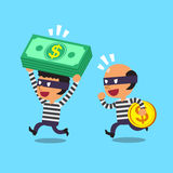 Cartoon thieves stealing money Royalty Free Stock Image