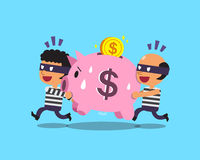 Cartoon thieves stealing pink piggy Stock Image