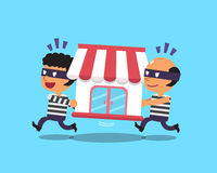 Cartoon thieves stealing shop building Stock Images