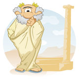 Cartoon thinker. Old ancient philosopher with wreath on head Stock Photo