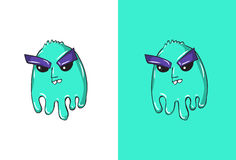 Cartoon thinking Emoji in Ghost Style. Stock Photography