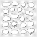 Cartoon thought bubble set. comic empty talk and speech balloons or clouds for fun discussion message vector symbols
