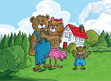 Cartoon of the three bears. In front of the bears house Stock Image