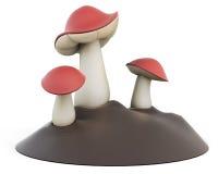 Cartoon three edible mushrooms Royalty Free Stock Photo