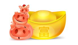 Cartoon three little pig pile with chinese money gold ,Happy chinese new year isolated vector elements for artwork wealthy, Zodiac. Sign for greetings card vector illustration