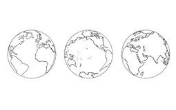 Cartoon of Three Views of Planet Earth Globe Royalty Free Stock Images