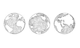 Cartoon of Three Views of Planet Earth Globe Stock Images