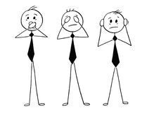 Cartoon of Three Wise Businessmen Who See, Hear and Speak no Evi. Cartoon stick man drawing conceptual illustration of three businessmen who see no evil, hear no Royalty Free Stock Image