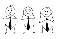 Cartoon of Three Wise Businessmen Who See, Hear and Speak no Evi. Cartoon stick man drawing conceptual illustration of three businessmen who see no evil, hear no Stock Image
