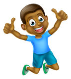 Cartoon Thumbs Up Boy Jumping Stock Images