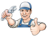 Cartoon thumbs up mechanic or plumber Stock Photos