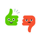 Cartoon Thumbs Up and Thumbs Down. Characters with cute funny faces. Flat vector illustration Stock Image