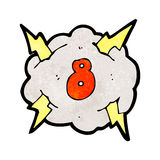 Cartoon thunder cloud with number eight Stock Photography