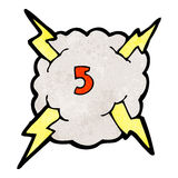 Cartoon thunder cloud with number five Royalty Free Stock Photo