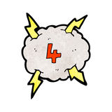 Cartoon thunder cloud with number four Stock Photography