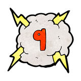 Cartoon thunder cloud with number nine Royalty Free Stock Photography