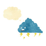 cartoon thundercloud with thought bubble Stock Photo