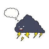 cartoon thundercloud with thought bubble Royalty Free Stock Photos