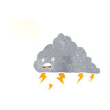 cartoon thundercloud with thought bubble Stock Image