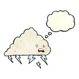 cartoon thundercloud with thought bubble Stock Images