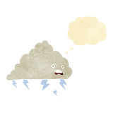Cartoon thundercloud with thought bubble Stock Photos