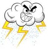 Cartoon thundercloud  on white Royalty Free Stock Photo