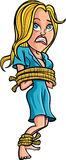 Cartoon tied up woman Stock Image