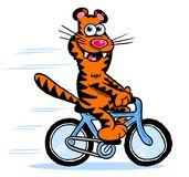 Cartoon tiger on bicycle Royalty Free Stock Photo