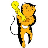 Cartoon tiger champion with a triumphant cup Stock Photo