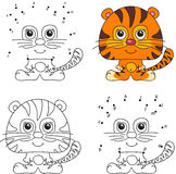 Cartoon tiger. Coloring book and dot to dot game for kids Royalty Free Stock Photos