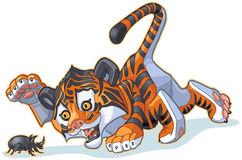 Cartoon Tiger Cub Plays with Rhinoceros Beetle Stock Images