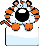 Cartoon Tiger Cub Sign Stock Photos