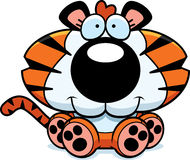 Cartoon Tiger Cub Sitting Stock Images