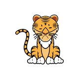 Cartoon of a tiger with different expression - Vector Print. Illustration of tiger behavior expression stock illustration