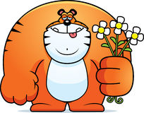 Cartoon Tiger Flowers Royalty Free Stock Image