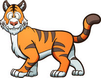 Cartoon tiger. Happy cartoon tiger. Vector clip art illustration with simple gradients. Head, body and snout on separate layers vector illustration