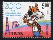 Cartoon of tiger. INDIA - CIRCA 2008: stamp printed by India, shows a cartoon of tiger, emblem, circa 2008 Royalty Free Stock Images