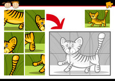 Cartoon tiger jigsaw puzzle game Royalty Free Stock Images