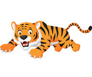 Cartoon tiger jumping Royalty Free Stock Photo