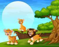 Cartoon tiger and lions playing near the cliff. Illustration of Cartoon tiger and lions playing near the cliff stock illustration