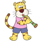 Cartoon Tiger Playing a Clarinet Royalty Free Stock Image