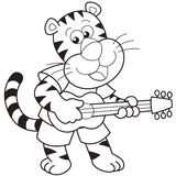 Cartoon Tiger Playing a Guitar Royalty Free Stock Photo