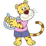 Cartoon Tiger Playing a Harp Royalty Free Stock Images