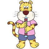 Cartoon Tiger Playing an Oboe Stock Photos