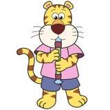 Cartoon Tiger Playing an Oboe. Vector Stock Photos