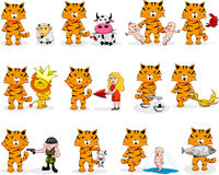 Cartoon tiger's zodiac. Twelve cartoon  signs of the zodiac based on the year of tiger (2010 Stock Photography